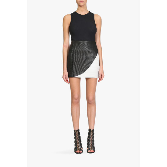BALMAIN WOMEN TWO TONE RIBBED LEATHER MINI SKIRT