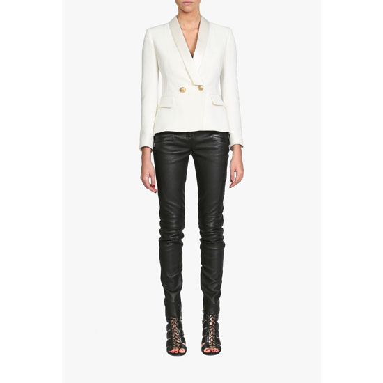 BALMAIN WOMEN DOUBLE-BREASTED CREPE AND VISCOSE BLAZER