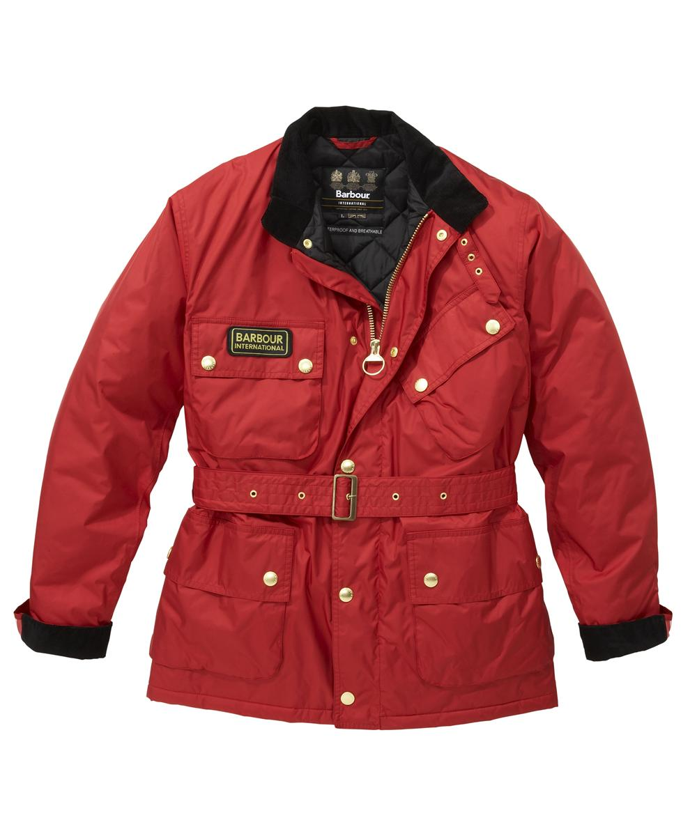 Mens Barbour Lightening Waterproof Jacket Chilli Red