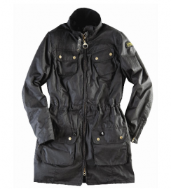 Barbour Ladies International Waxed Parka Jacket Black