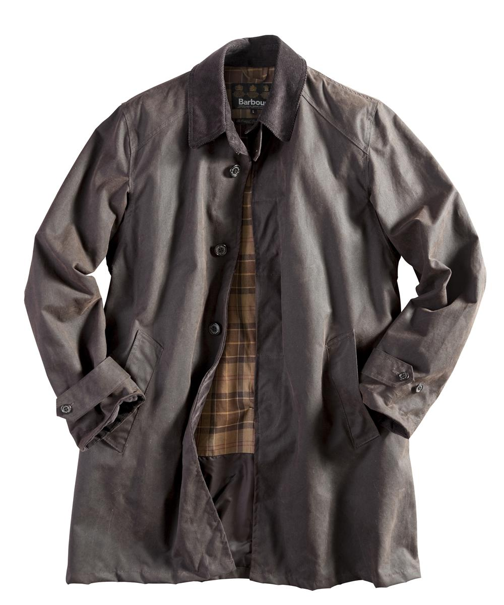 Barbour Mens Merton Waxed Mac - Rustic | Muted Tartan