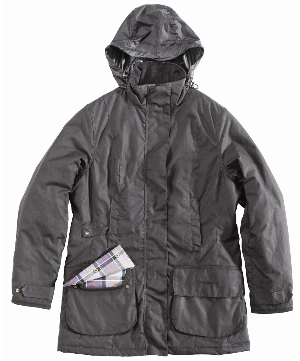 Womens Barbour Linley Waxed Jacket Black
