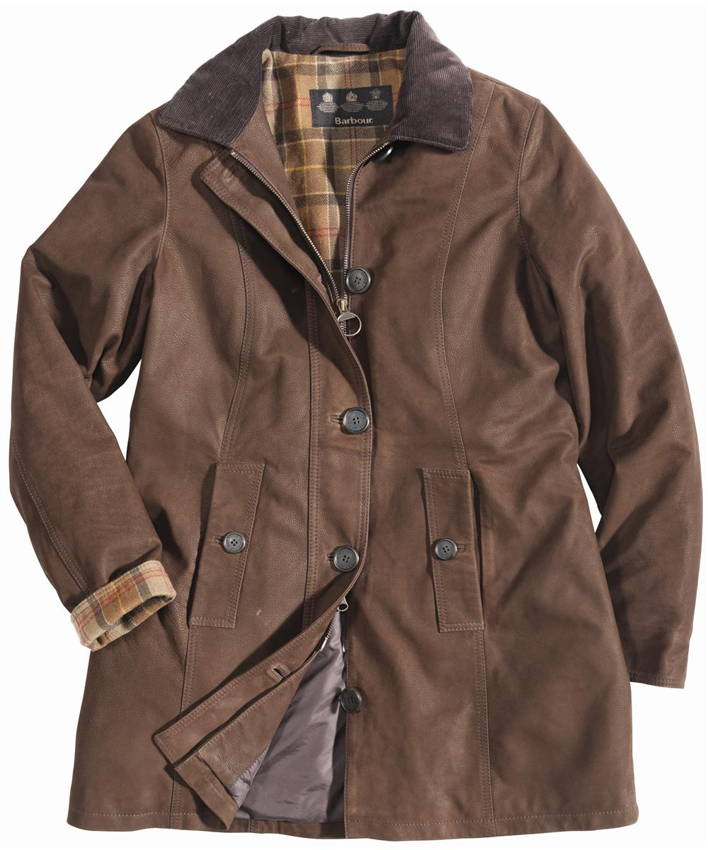 Womens Barbour Kirby Leather Coat Brown