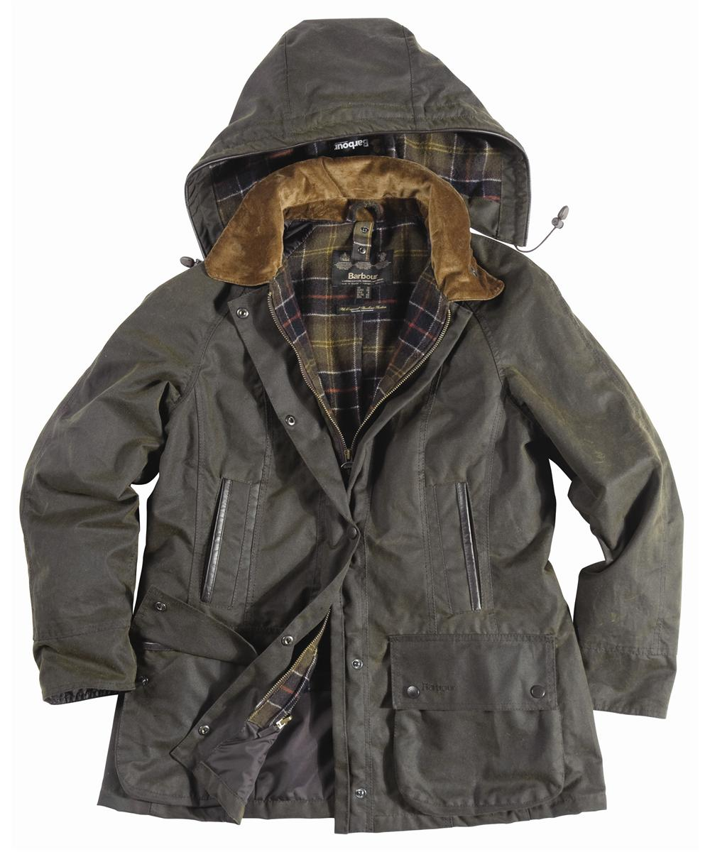 Barbour Ladies Beaufront Waxed Jacket Olive | Classic Tartan