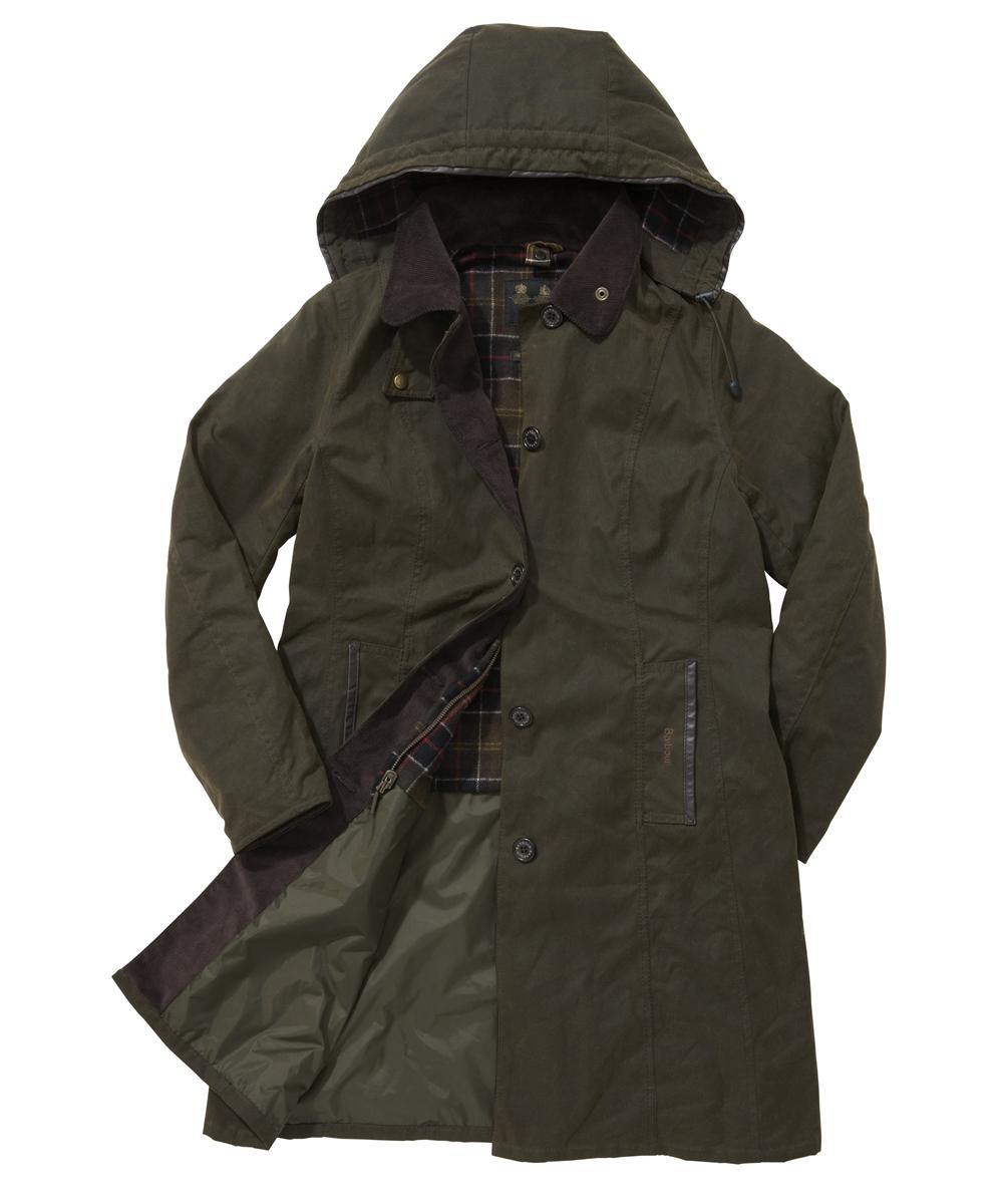Barbour Bamburgh Waxed Jacket Olive | Classic Tartan