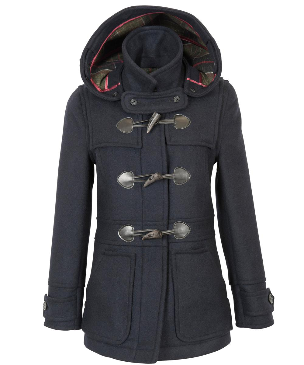 Womens Barbour Wool Buttermere Duffle Coat - Navy