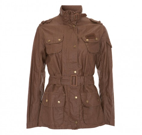 Barbour Ladies Duralinen International Jacket- Sandstone | Stone