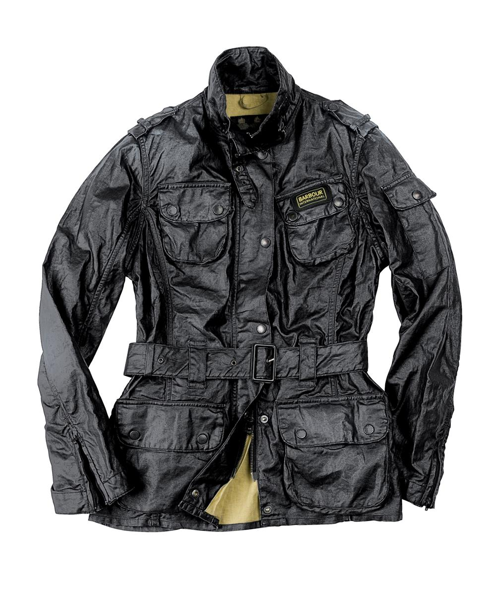 Barbour Ladies Duralinen International Jacket- Black | Yellow