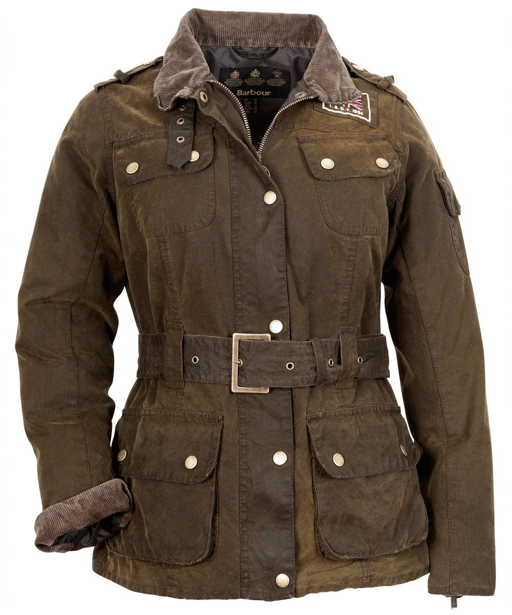 Womens Barbour Heritage International Waxed Jacket - Olive