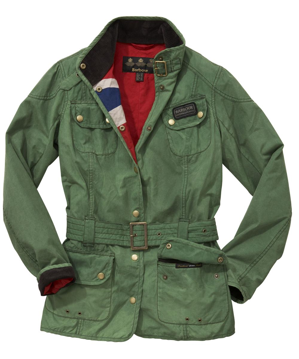 Womens Barbour Vintage International Waxed Jacket - Racing Green