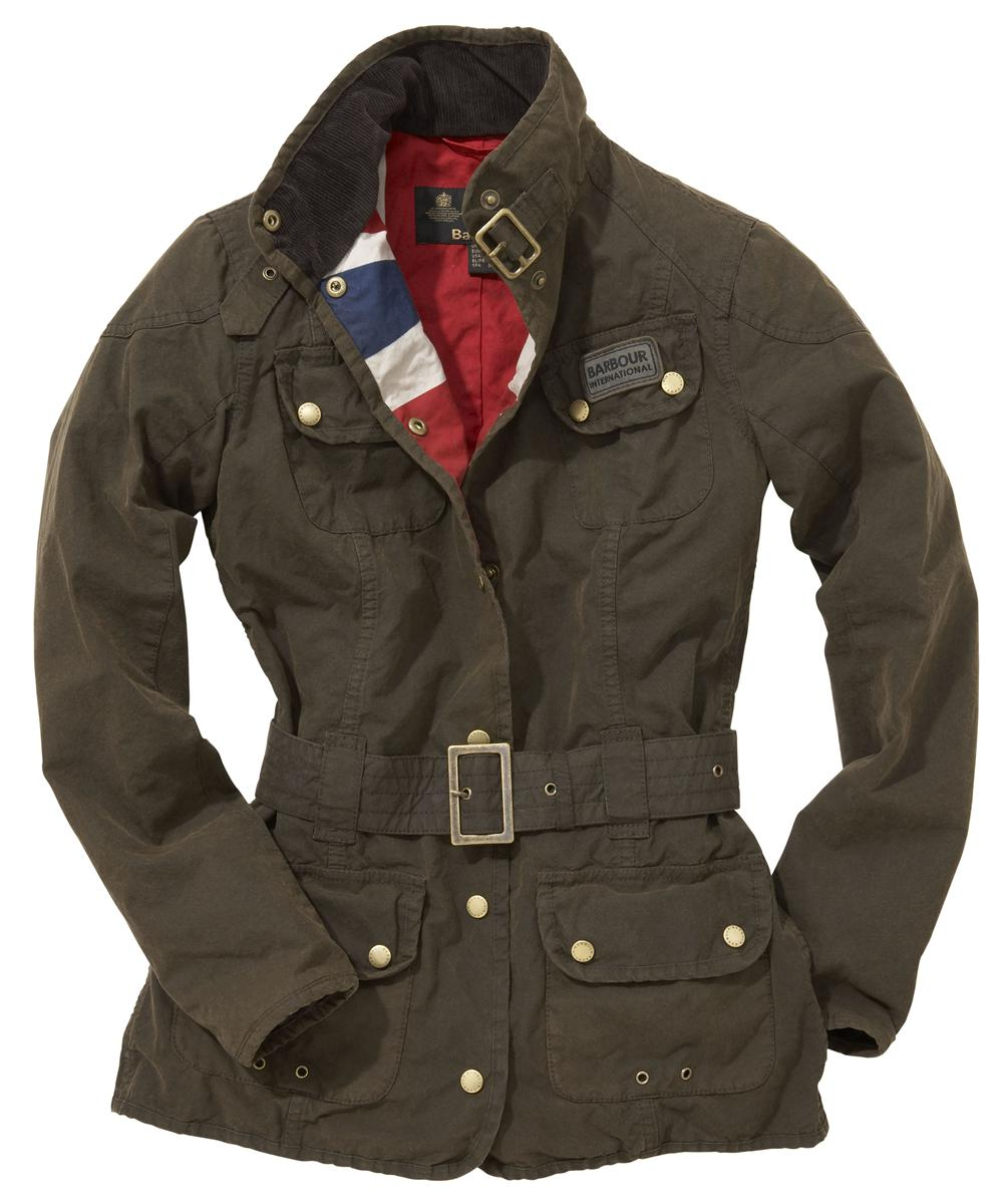 Womens Barbour Vintage International Waxed Jacket - Olive