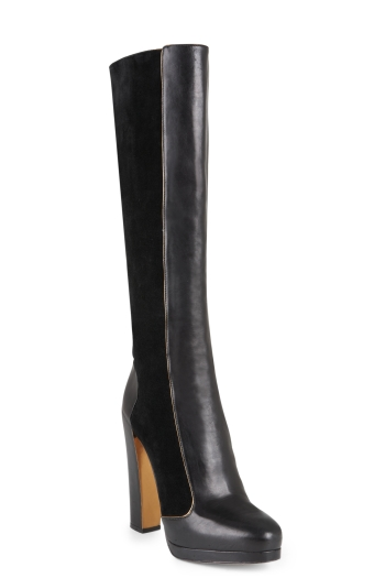BCBGMAXAZRIA CHARLOTTE HIGH-HEEL LEATHER BOOT WITH SUEDE CONTRAST