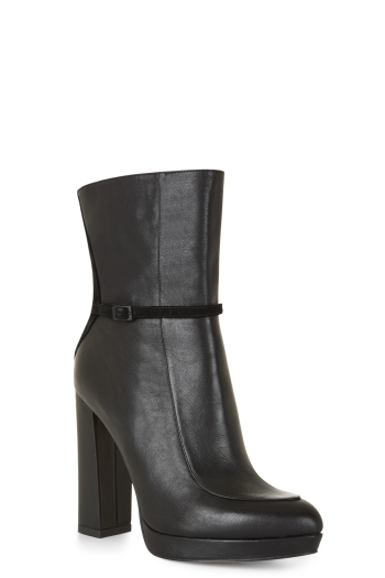 BCBGMAXAZRIA TABITHA LEATHER AND SUEDE BOOTIE