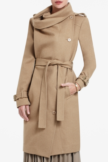 BCBGMAXAZRIA CARLIN DOUBLE-BREASTED WOOL-BLEND TRENCH COAT