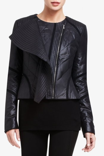 BCBGMAXAZRIA DYLAN RUFFLE-FRONT QUILTED JACKET