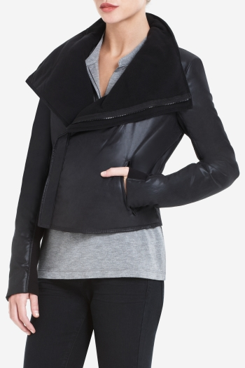 BCBGMAXAZRIA EMERSON WIDE-COLLAR CROPPED DISTRESSED TWILL JACKET