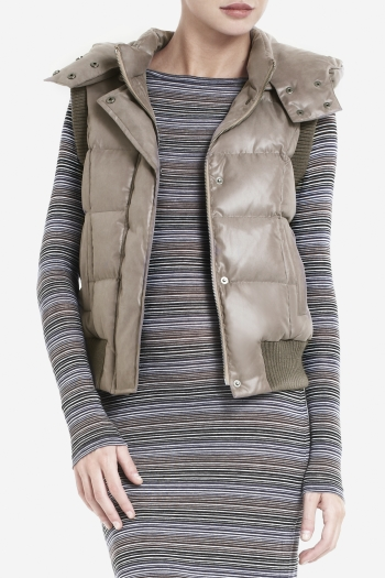 BCBGMAXAZRIA PRESLEY QUILTED DISTRESSED TWILL DOWN VEST