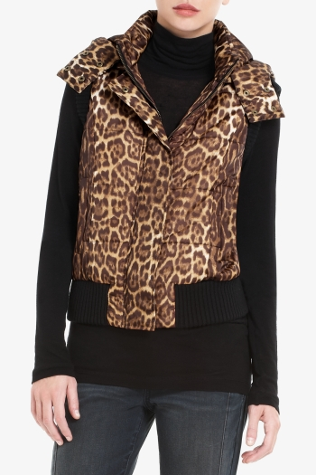 BCBGMAXAZRIA PRESLEY QUILTED LEOPARD-PRINT DISTRESSED TWILL LINED VEST