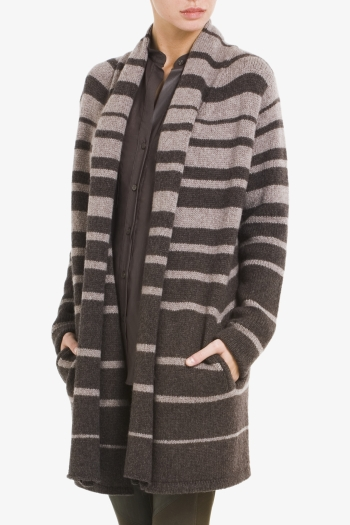 BCBGMAXAZRIA GORDON STRIPED SCARF CARDIGAN