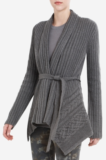 BCBGMAXAZRIA NOLAN RIBBED WAIST-TIE CARDIGAN WITH CABLE-STITCH DETAIL
