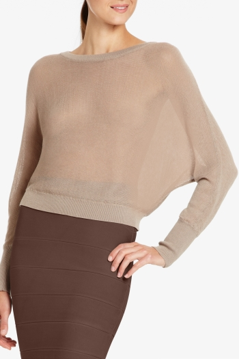 BCBGMAXAZRIA CAMILLE LOOSE-KNIT CROPPED TOP