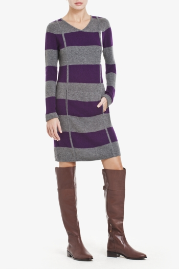 BCBGMAXAZRIA STRIPED KNIT LAMBSWOOL DRESS WITH TUBULAR DETAILING