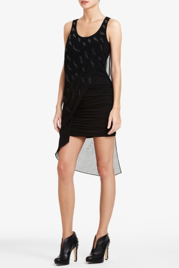 BCBGMAXAZRIA JILLIAN SLEEVELESS ASYMMETRICAL DRAPY DRESS