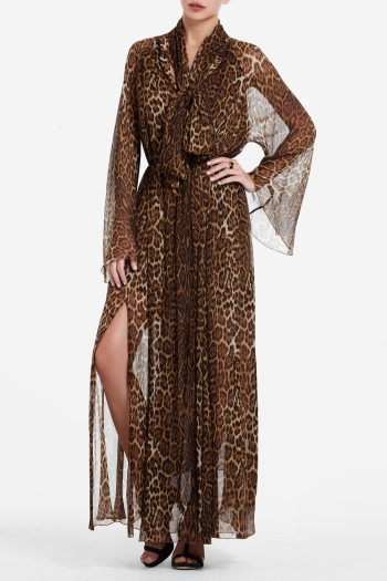 BCBGMAXAZRIA ROBIN FULL-LENGTH LEOPARD-PRINT CHIFFON DRESS
