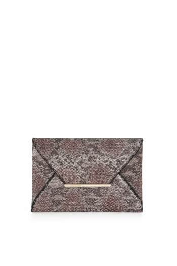 BCBGMAXAZRIA HARLOW SEQUINED SNAKE-PRINT ENVELOPE CLUTCH