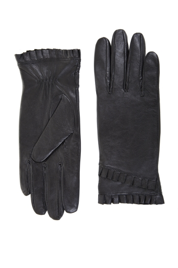 BCBGMAXAZRIA RUFFLED LEATHER GLOVE