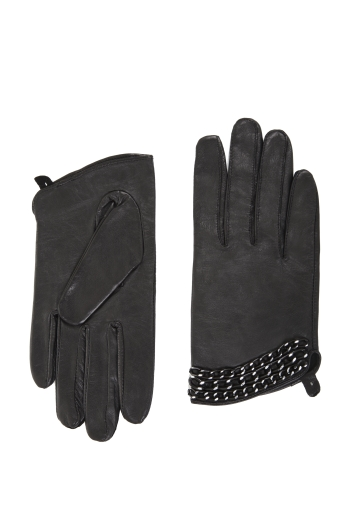 BCBGMAXAZRIA LEATHER GLOVES WITH CHAIN DETAIL