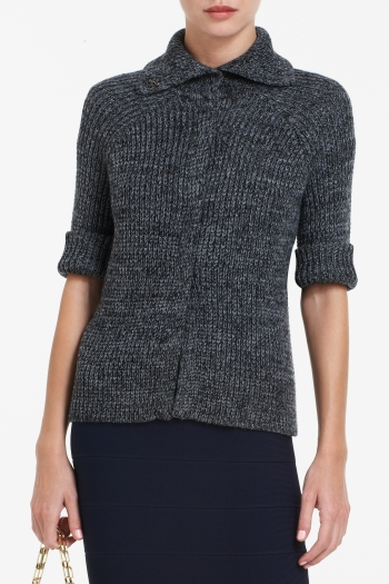 BCBGMAXAZRIA NASH CROPPED WOOL-BLEND RIBBED CARDIGAN