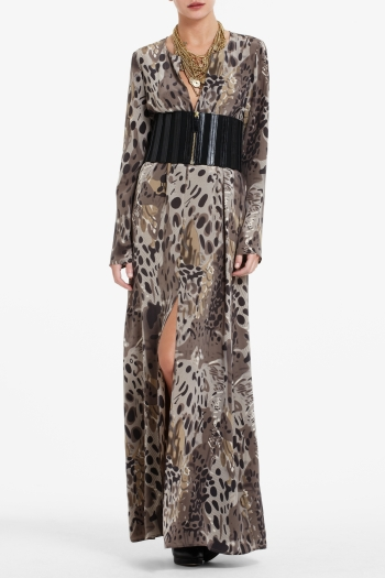 BCBGMAXAZRIA GILMOUR CREPE DE CHINE MAXI DRESS WITH ABSTRACT LEOPARD PRINT