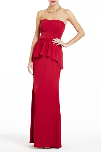 BCBGMAXAZRIA RUELLA STRAPLESS LONG TIERED DRESS