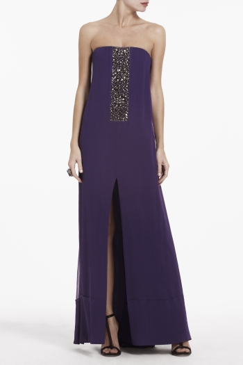 BCBGMAXAZRIA EXENE BEADED STRAPLESS DRESS