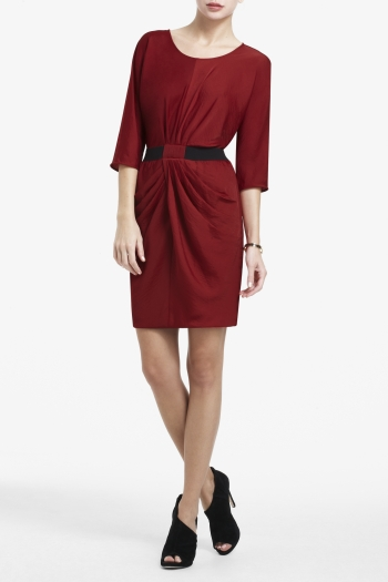 BCBGMAXAZRIA ISELIN DRAPED-SKIRT SATIN DRESS