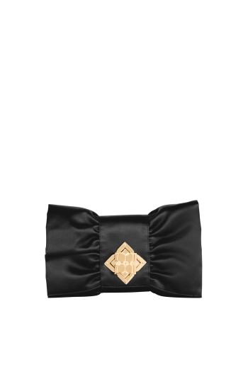 BCBGMAXAZRIA SATIN BOW CLUTCH
