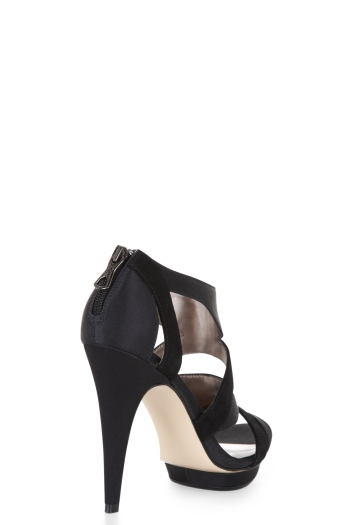 BCBGMAXAZRIA HIGH-HEEL SATIN AND SUEDE EVENING SANDAL
