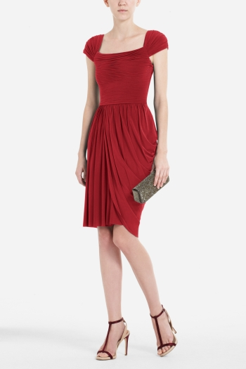 BCBGMAXAZRIA MIKAELA CAP-SLEEVE ASYMMETRICAL DRAPED DRESS