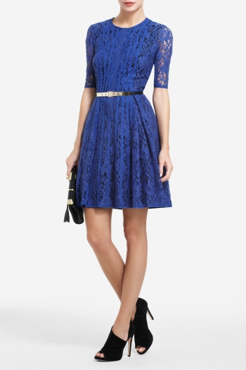 BCBGMAXAZRIA KIRAN A-LINE STRIP-DETAIL LACE DRESS