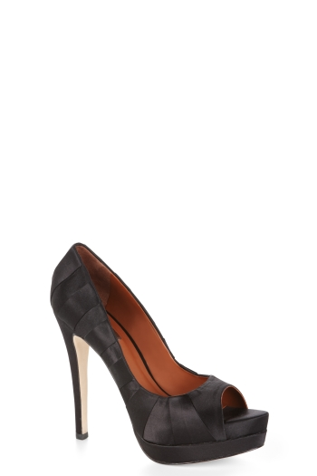 BCBGMAXAZRIA LAURYN PLEATED SATIN PEEP-TOE PUMP