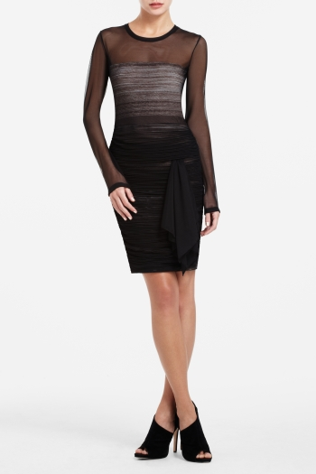 BCBGMAXAZRIA TRACY LONG-SLEEVE SHIRRED DRESS