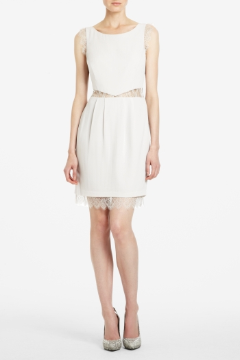 BCBGMAXAZRIA MAUD SILK GEORGETTE AND LACE SLEEVELESS DRESS