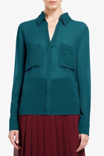BCBGMAXAZRIA EMMA BUTTON-DOWN SILK CHIFFON BLOUSE