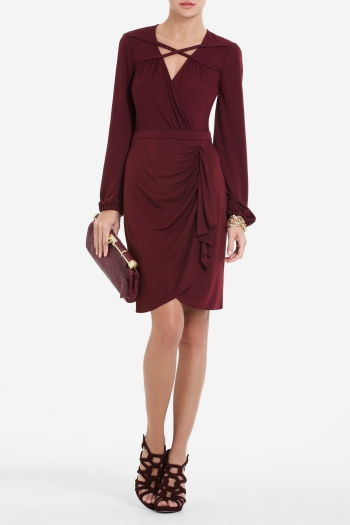 BCBGMAXAZRIA ALANNAH CRISSCROSS WRAP DRESS