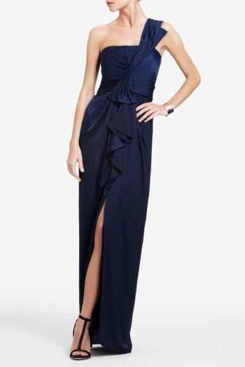BCBGMAXAZRIA BARBARA ONE-SHOULDER SATIN EVENING GOWN