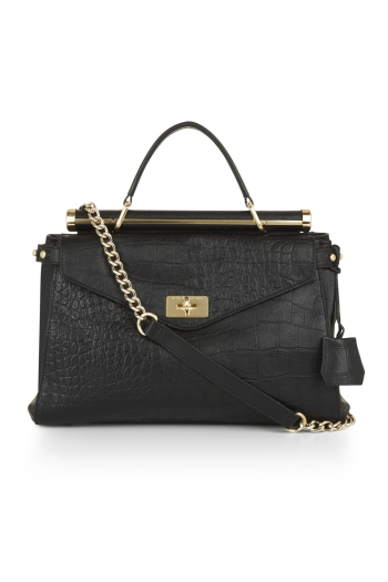 BCBGMAXAZRIA MILANO LEATHER CROCODILE-EFFECT MEDIUM SATCHEL
