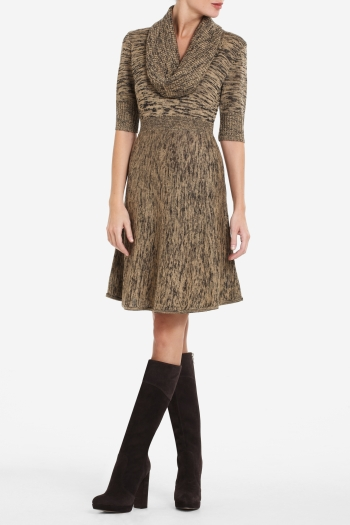 BCBGMAXAZRIA TALIA WOOL-BLEND A-LINE DRESS WITH COWL-NECK
