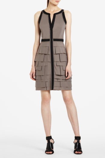 BCBGMAXAZRIA AARON SLEEVELESS DRESS WITH ASYMMETRICALLY TIERED SKIRT