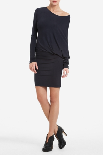 BCBGMAXAZRIA LAHELD LONG-SLEEVE SIDE-DRAPE TUNIC